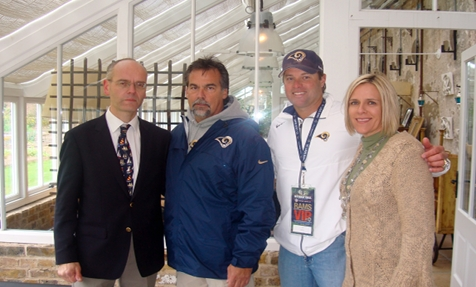 Photo of Rams Head Coach Jeff Fisher with Dr. Timothy Barrett and J.T. Snow and his sister Stephanie Snow Gebel